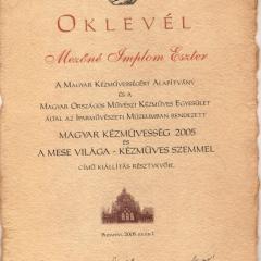 2005_Iparművészeti_Múzeum_Magyar_Kézművesség_Oklevél 2005