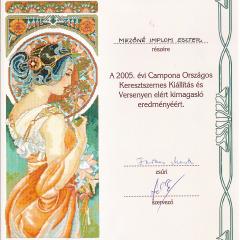 2005_Orszagos_keresztszemes_kiallitas_Campona_oklevél 2005 Campona