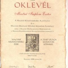 2006_Magyar Kézművesség 2006 - Mezőgazdasági múzeum - BudapestOklevel2006