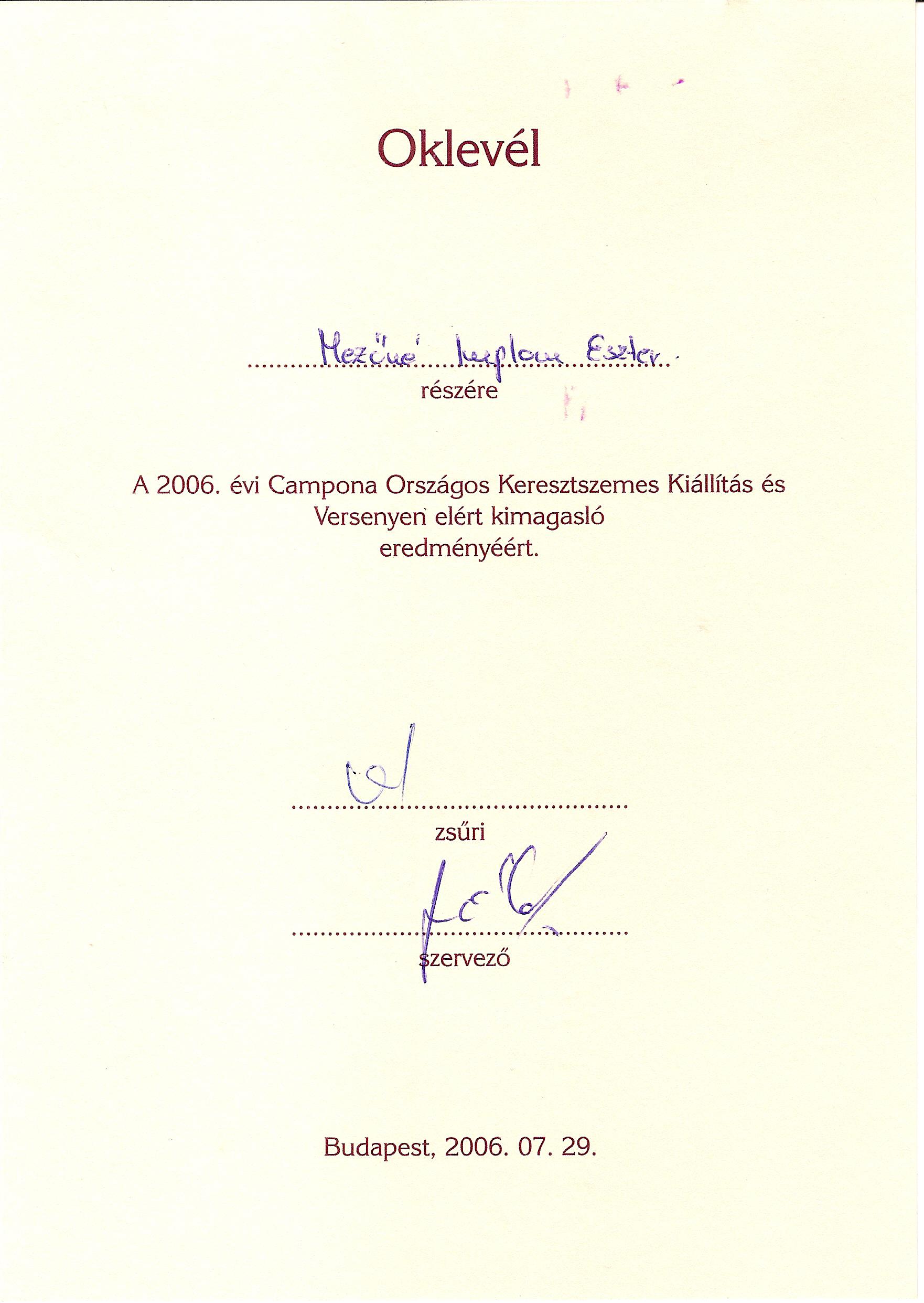 2006_Országos Kersztszemes kilállítás és verseny - Campona - 2006Oklevl 2006-Campona