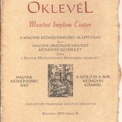 2007_Magyar Kézművesség 2007 - Mezőgazdasági MúzeumOklevel2007_01