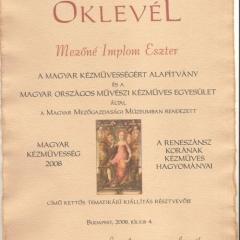 2008_Magyar kézművességOklevel2008