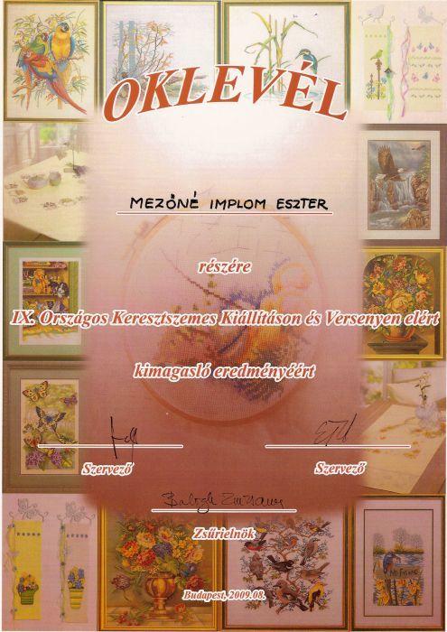 2009_1Országos keresztszemes kiállítás és verseny_oklevel