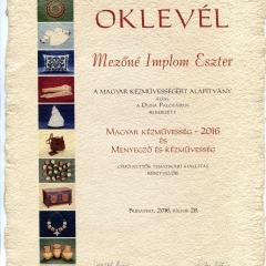 2016_Magyar kézművesség_oklevél