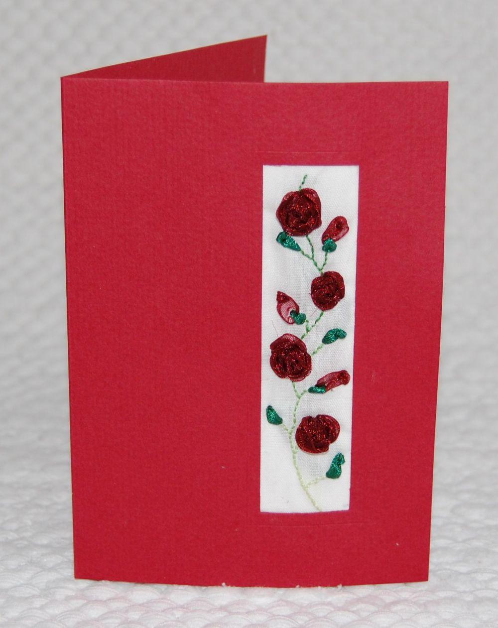 Rózsás képeslap - szalaghímzés
