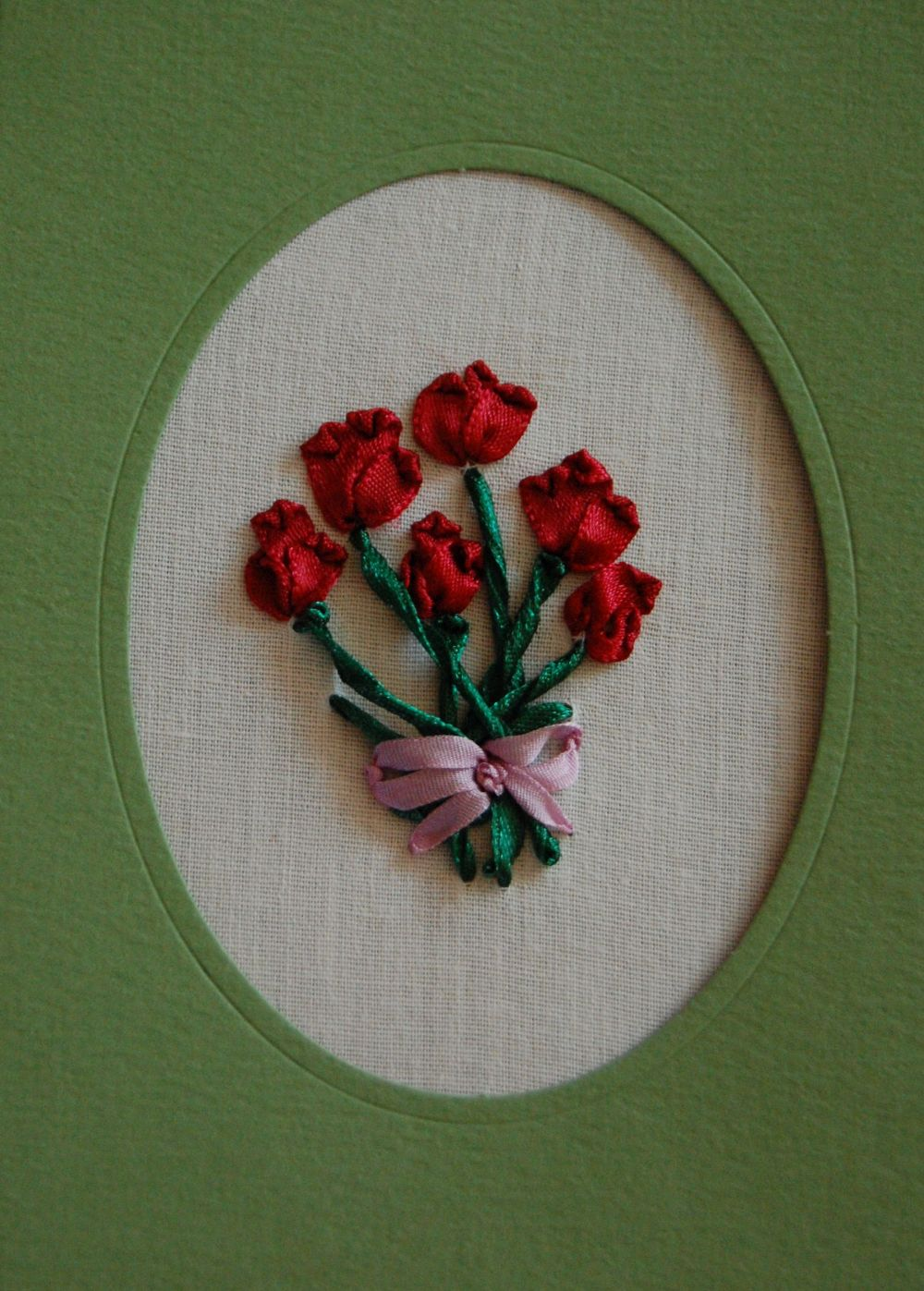 Tulipános üdvözlőlap - szalaghímzés