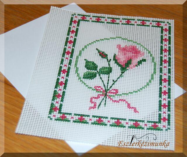 Rózsás keresztszemes képeslap - félkész