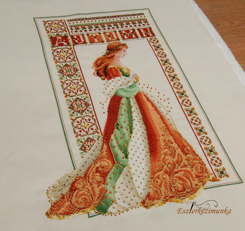 Celtic Autumn cross stitched woman - Celtic Autumn keresztszemes kép