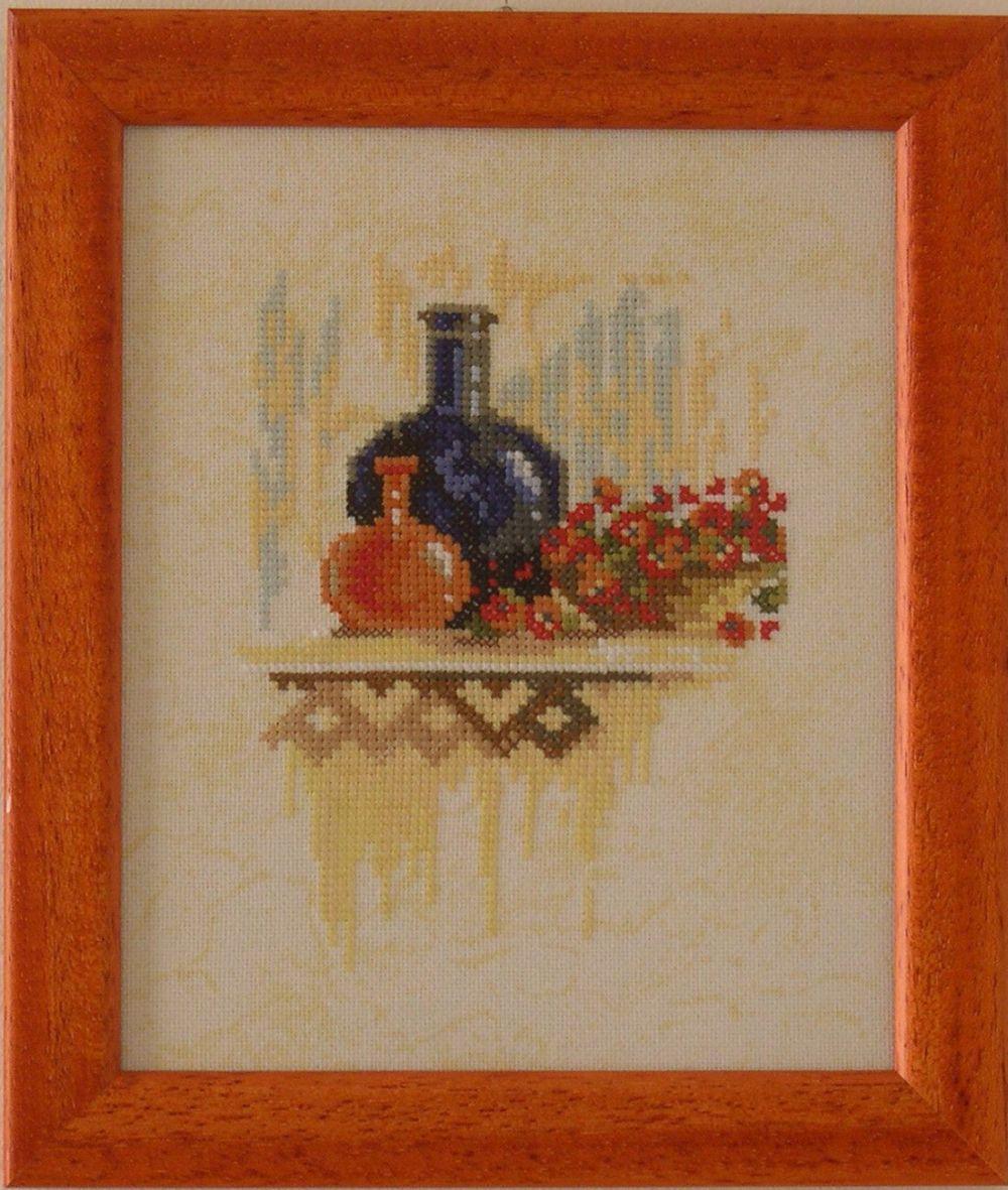 Konyhai csendélet piros vázával - Lanarte keresztszemes