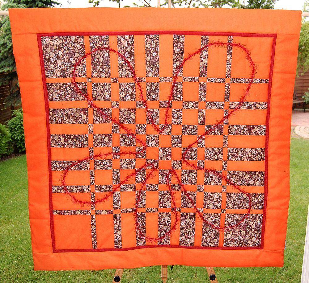 Barna-narancs virágos foltvarrás falikép