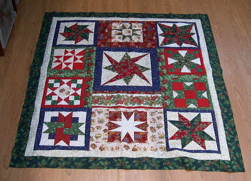 Karácsonyi csillagok - minta-quilt