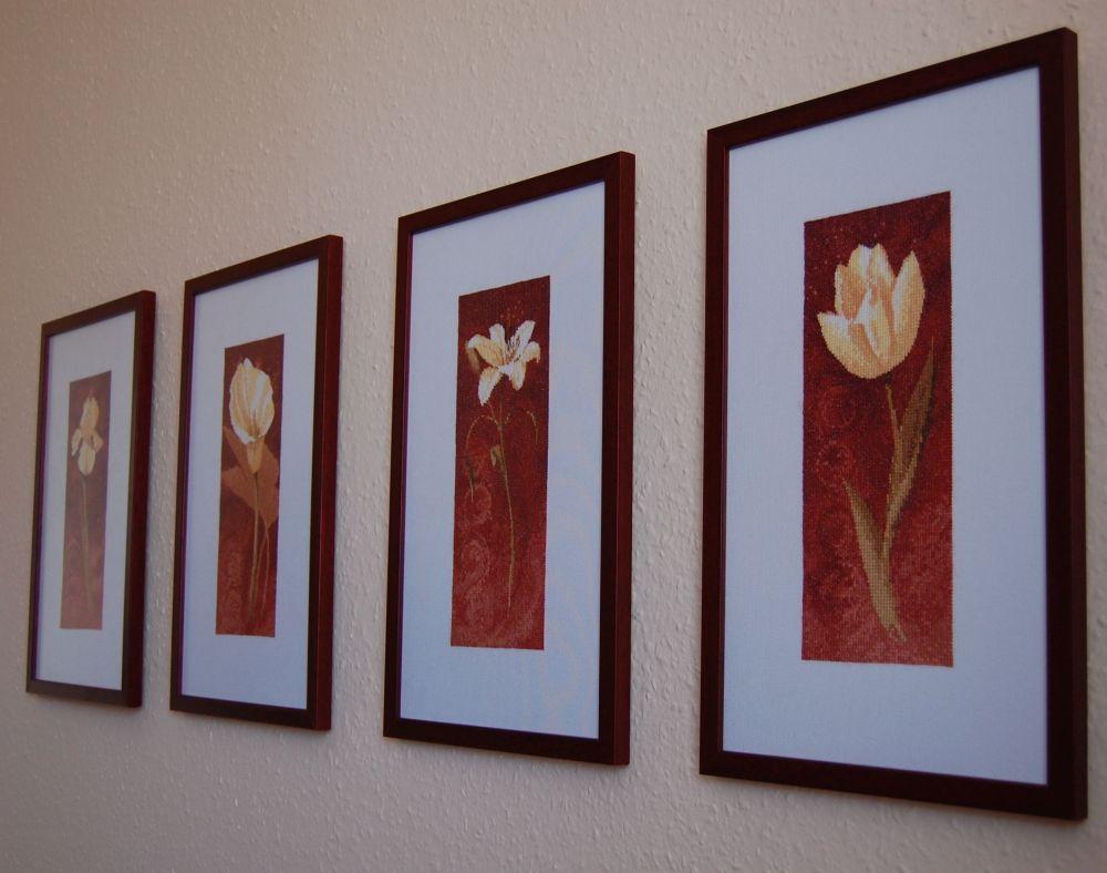 Heritage virágok keresztszemes
